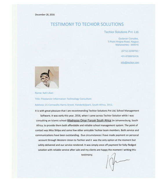 TechiorTestimonyinternationalclient
